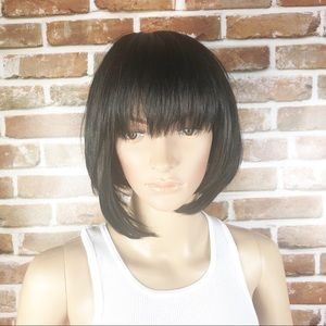 Black Straight Short Bob With Bangs Synthetic Wig